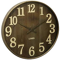 Round Wall Clock with 1863 Antiqued Stamp Date Detail On Metal Face Under Glass Brown Tan