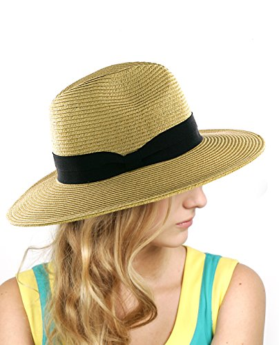 NYFASHION101 Lightweight Solid Color Panama Fedora Sun Hat, Dk (Womens Panama Hat)