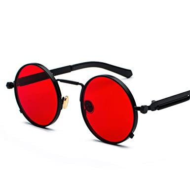 New Daawqee Steampunk Red Sunglasses Men Metal Retro Frame Clear PkN8ZnXw0O