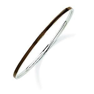 Sterling Silver Stackable Expressions Brown Slip-on Enamel Bangle Bracelet