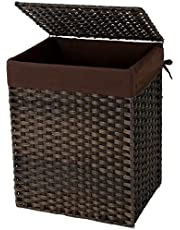 SONGMICS 90L Handwoven Laundry Basket, Synthetic Rattan Clothes Hamper with Lid and Handles, Foldable, Removable Liner Bag, Brown LCB51BR