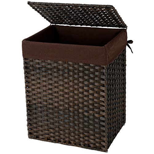 (SONGMICS Handwoven Laundry Basket, Synthetic Rattan Clothes Hamper with Lid and Handles, Foldable, Removable Liner Bag, Brown ULCB51BR)
