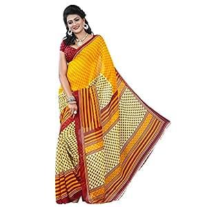 Shilp-Kala Faux Georgette Printed Yellow Colored Sarees SKVE12849D