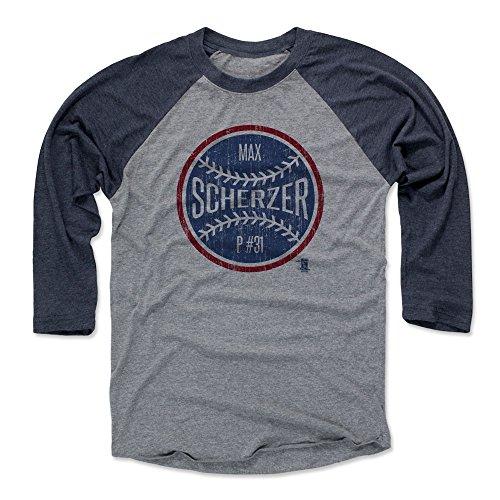 (500 LEVEL Max Scherzer Baseball Tee Shirt Large Navy/Heather Gray - Washington Baseball Raglan Shirt - Max Scherzer Ball B)