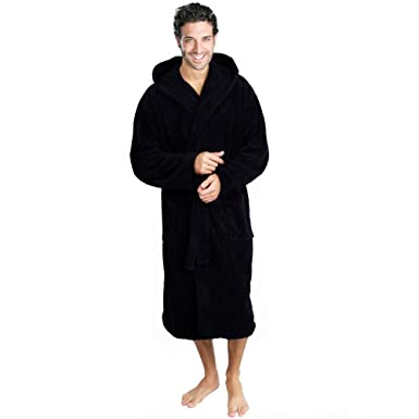 Star and Stripes Black Hooded Bathrobe Soft Cotton Terry Robes Gowns ... f86f21d2d