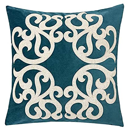 Magnificent Homey Cozy Cerulean Throw Pillow Cover Large Premium Applique Sparkly Vine Velvet Sofa Couch Pillowcase Modern Home Decor 20X20 Cover Only Ncnpc Chair Design For Home Ncnpcorg