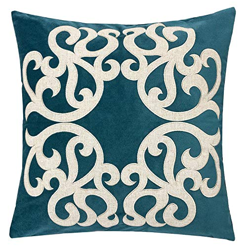 Homey Cozy Cerulean Throw Pillow Cover,Large Premium Applique Sparkly Vine Velvet Sofa Couch Pillowcase Modern Home Decor 20x20,Cover Only