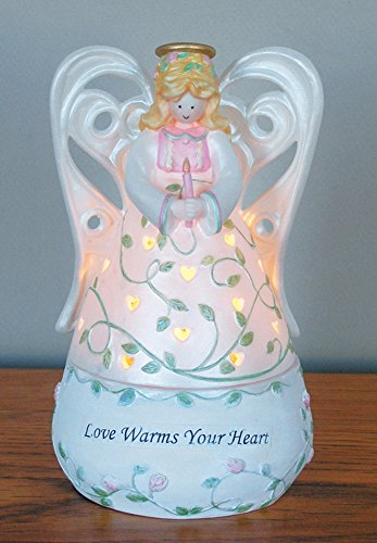 BANBERRY DESIGNS Angel Tealight Candle Holder Figurine Decoration - Love Warms Your Heart - Heart Shaped Cut Out - Pink Roses and Green Leaves - Porcelain - 6 Inch ()