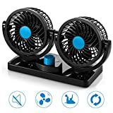LYUS Dashboard Car Fan with Dual Head, 360 Degree Rotatable 2 Speed 12V Cooling Air Circulator Vehicle Car Fans (12V)