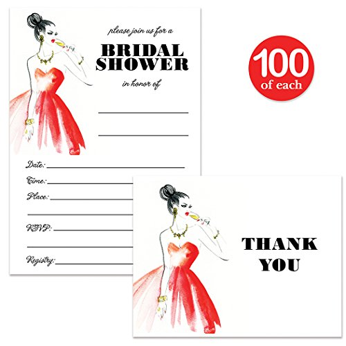 Bridal Shower Invitations & Matching Thank You Cards Set ( 100 of Each ) Envelopes Included, Elegant Stylish 5 x 7'' Fill-in Large Party Guest Invites & Folded Thank You Notes Excellent Value Pair by Digibuddha