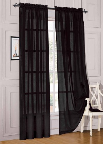 WPM 2 Piece Beautiful Sheer Window Elegance Curtains/drape/panels/treatment 60″ w X 84″ l