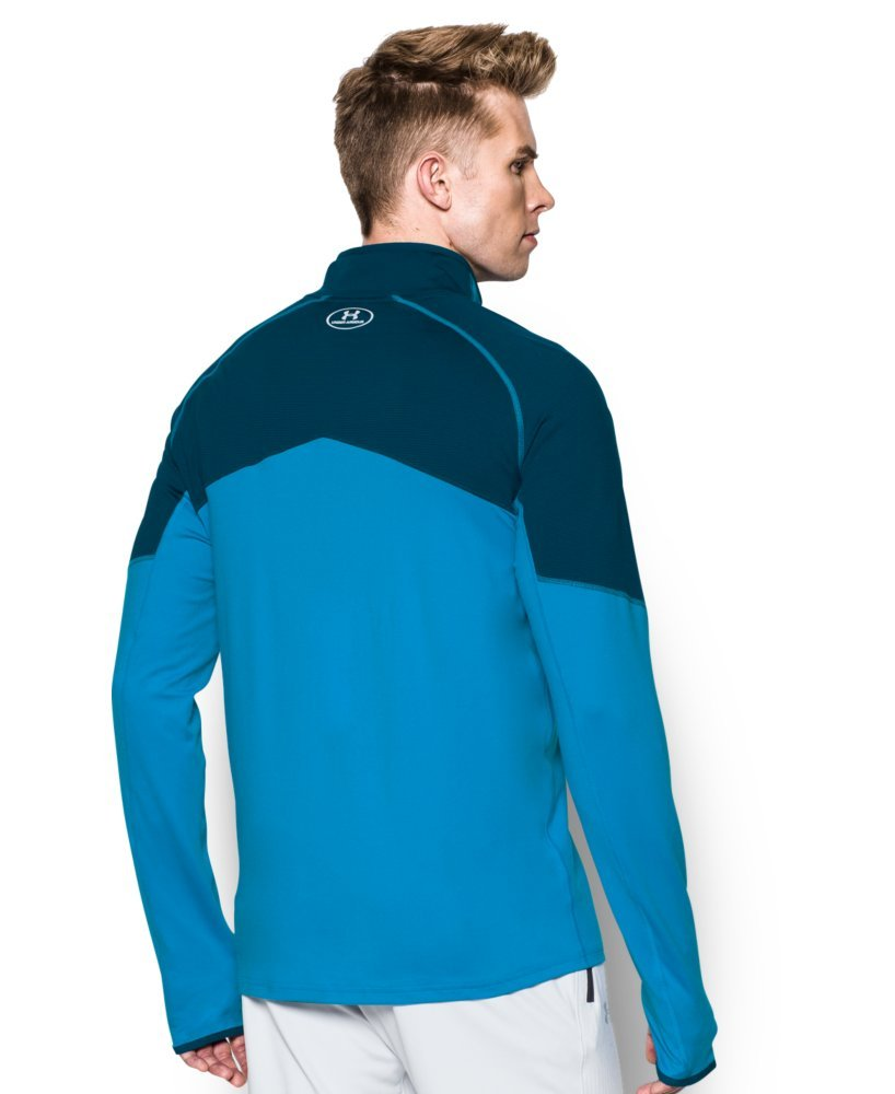 Under Armour Men's No Breaks Run 1/4 Zip, Brilliant Blue /Reflective, Medium by Under Armour (Image #2)