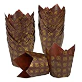 baking paper liners - Baking Cups/Tulip Cupcake Liners - 100 Piece Bulk Set - Fancy Paper Cupcake Muffin Liners for Weddings, Birthdays, Baby Showers, Brown and Gold