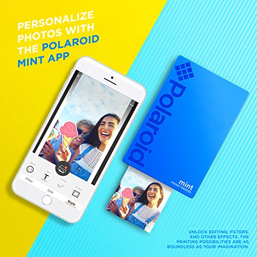 Zink Polaroid Mint Pocket Printer W/ Zink Zero Ink Technology & Built-In Bluetooth for Android & iOS Devices - Blue