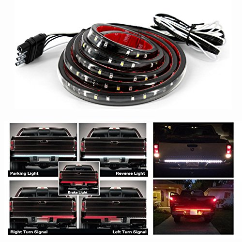 Carrep Universal Truck Tailgate Strip Light Side Bed Light Strips 5 Function Waterproof Turn Signal, Parking, Reverse,Brake Lights (47 inches)