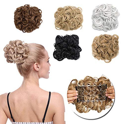 Messy Curly Hair Bun Extension Easy Stretch Hair Dish Chignon Scrunchy Updo Donut Wedding Hairpieces Combs Clip in Ponytail Trap PonytailBleach Blonde