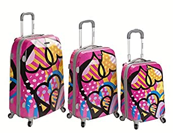 Rockland Luggage Vision Polycarbonate 3 Piece Luggage Set, Love, One Size