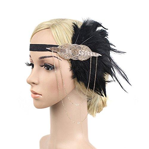 Meiysh Black Gold Headbpiece 1920s Headband Flapper Great Gatsby Handband Flapper Accessories (black-champagne)