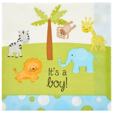 Baby Shower Party Decoration Set for Boy. All-in-One Bundle Kit with ''It's a Boy'' Plates, Napkins, & Garland. Animal Cups & Table Cloth Included.