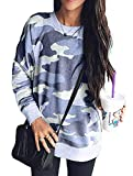 Shawhuwa Womens Camo Sweatshirts for Leggings Round Neck Long Sleeve Winter Blouse for Legging Blue M