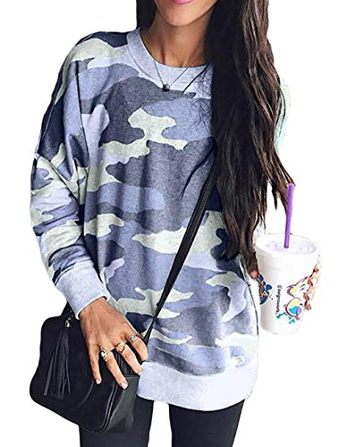 Round Neck Women Sweatshirt - Shawhuwa Womens Camo Sweatshirts for Leggings Round Neck Long Sleeve Winter Blouse for Legging Blue M