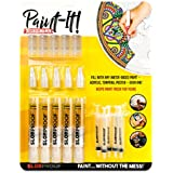 Slobproof Decorating Paint Pens | Fill with Acrylic, Tempera or Poster Paint | Keeps Paint Fresh Inside for Seven Years | Includes Brush-tips for Painting Fabrics, Ceramics, Rocks and Wood, 5-Pack