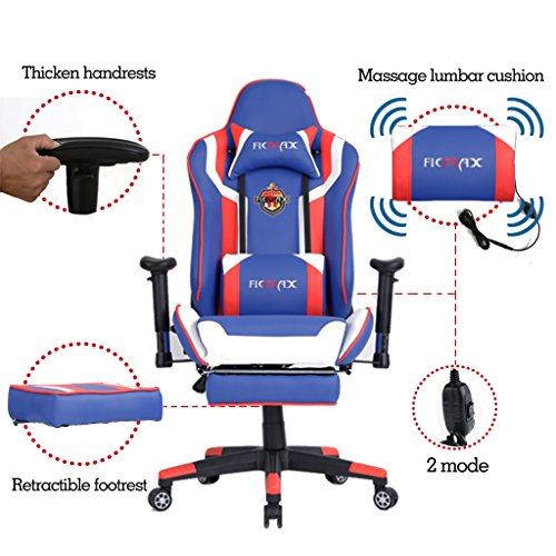 Ficmax ergonomic computer racing chair leather swivel executive office chair recliner rocker for Chaise gamer pc