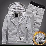 Mens Tracksuit Warm Sport Jogging Sweat Suits Hooded Sweatshirt Hoodies Coat & Bottoms Set (3XL, Gray)