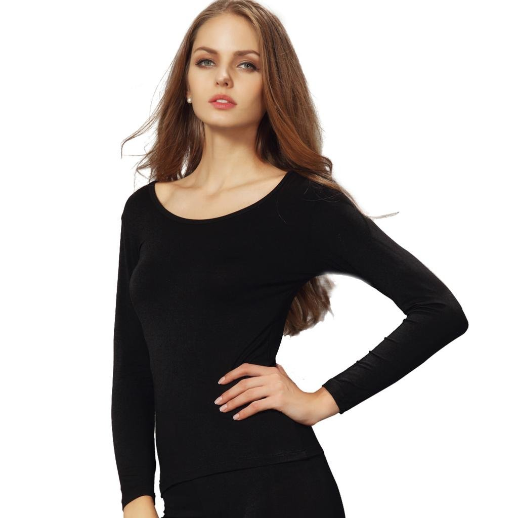 Liang Rou Women's Round Neck Ultra-Thin Underwear Long Sleeve Shirt Top Black S