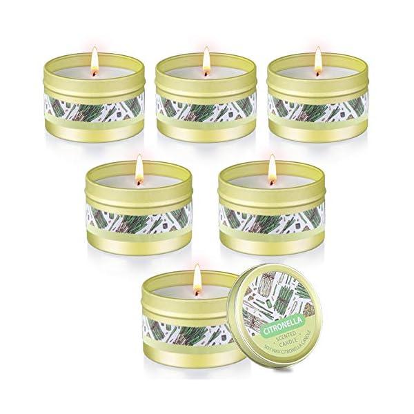 51EF84P fRL Citronella Kerze Outdoor mit Sojawachs Duftkerzen 6 Stück Zitronella Kerzen Set für Zimmer Garten Terrasse Balkon…