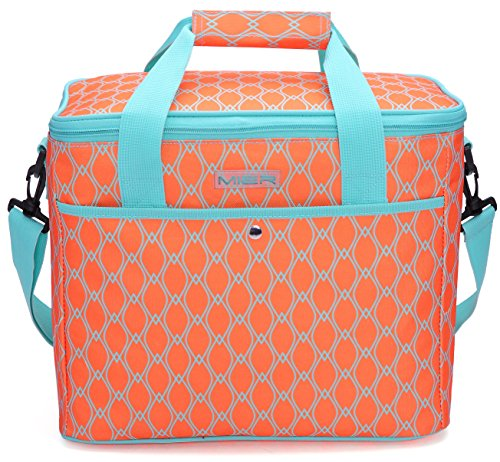 (MIER 18L Large Soft Cooler Insulated Picnic Bag for Grocery, Camping, Car, Bright Orange Color)