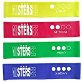 Resistance Loop Band Set of 4: Good for All Gym Workouts, Stretching, Therapy, Dance, Pilate, Yoga, Crossfit - Made with High Quality Durable Latex - Carry Bag Included