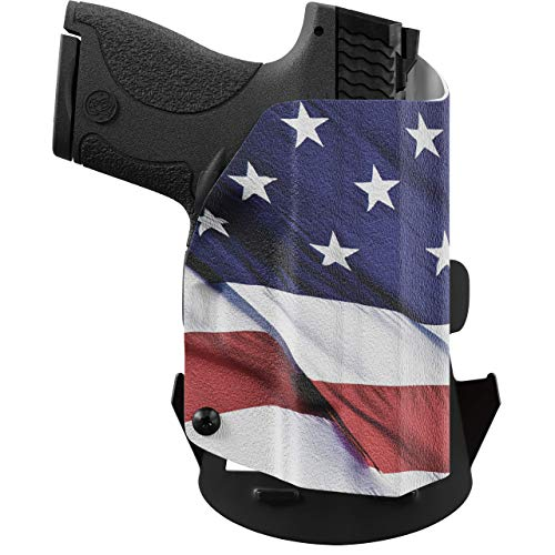 We The People - OWB Holster Compatible with Taser Pulse Gun - Outside Waistband Concealed Carry Kydex Holster (Left Hand, American Flag)