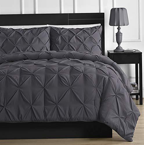 (Hemau Premium New Soft 3-Piece Pinch Pleat Comforter Set All Season Pintuck Style Double Needle Durable Stitching, California King Gray | Style)