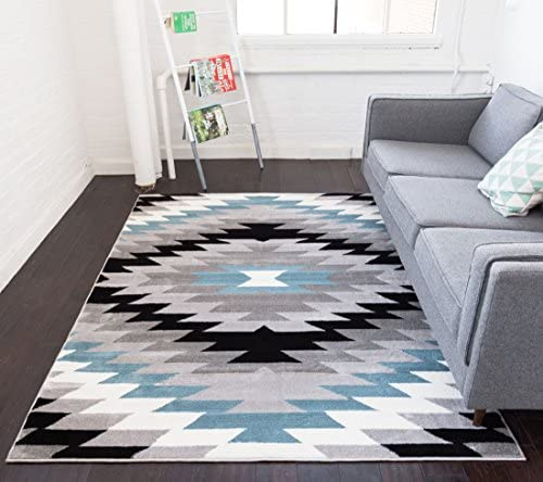 Dusky Mesa Grey Blue Southwestern Modern Classic Geometric Medallion Area Rug 5 x 7 5 3 x 7 3 Easy Clean Stain Fade Resistant Shed Free Contemporary Thick Soft Plush Living Dining Room