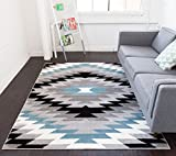 """Dusky Mesa Grey & Blue Southwestern Modern Classic Geometric Medallion Area Rug 8 x 10 ( 7'10"""" x 9'10"""" ) Easy Clean Stain Fade Resistant Shed Free Contemporary Thick Soft Plush Living Dining Room Review"""