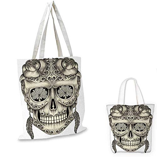 Eurosport Ring - Day Of The Dead canvas messenger bag Spanish Sugar Skull with Roses Dragonfly Eyes Feather and Earrings Artwork canvas beach bag Grey Ivory. 14