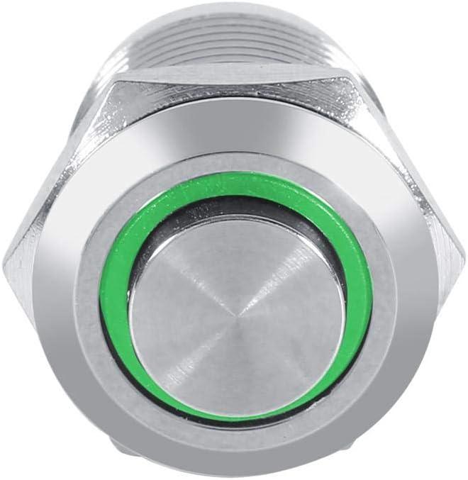 GreenLED Qii lu QL00248 12mm Cerchio LED impermeabile metallo pulsante momentaneo interruttore a filo alta 4 pin 1NO