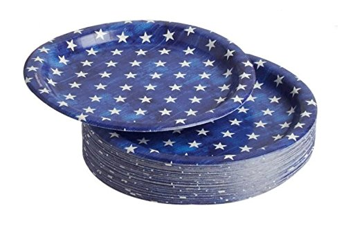Northeast Home Goods Stars and Stripes Round Salad Dessert Paper Plates 7-Inch, Pack of 50