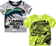 OFIMAN Little Boys 2-Pack Dinosaur Short Sleeve T-Shirt 100% Cotton Toddler Tops Tee