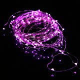 Ryham Fairy LED String Lights Flexible Copper Wire Tree Lights 16.4ft/5m 50LEDs Waterproof Starry String Lights for Christmas Wedding and Party, Pink
