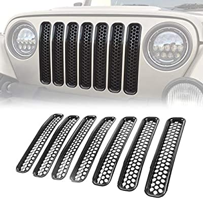 Matte Black Front Grille Inserts Cover Mesh Grill Jeep Grille Guard Kit for 1997-2006 Jeep Wrangler TJ & Unlimited: Automotive