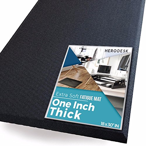 "Extra Thick Anti-Fatigue Standing Mat by HeroDesk | Comfort Floor Mat for Standing Desk, Kitchen & Office - Extra Soft Pad, Ergonomic, Anti Stress & Fatigue - One Inch Thick - 18x30"" (Black) by HeroDesk"