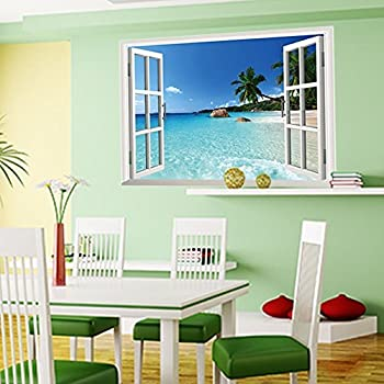 Amaonm® New Design Removable Huge Large 3D Beach Sea Window View Art Decor  Wallpaper Mural Wall Decals Sticker for Home Wall Art Decor Kids Bedroom  Living ...