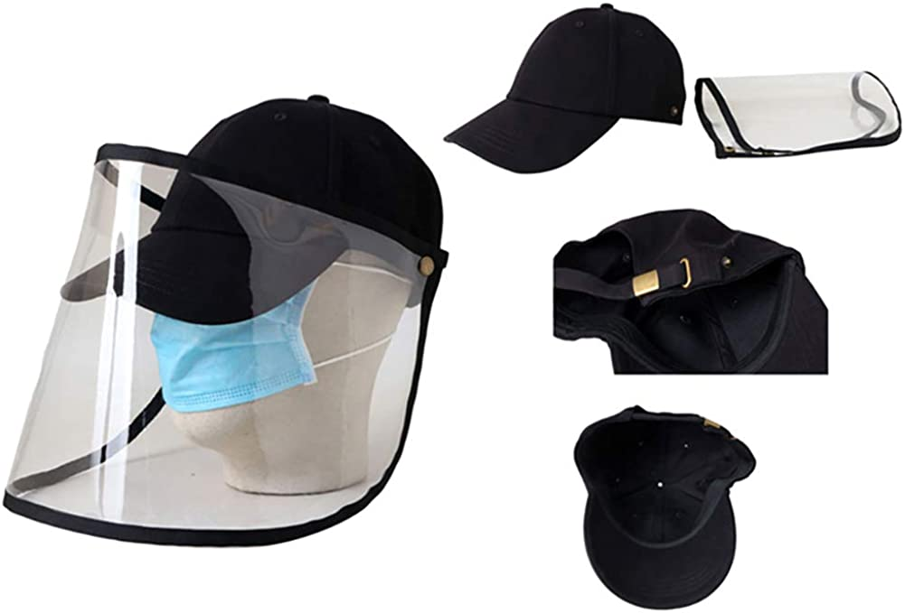 Heavy Duty Hard Hat for Adult INFILM Anti-Fog Windproof Black Safety Face Shield with Clear Visor Hard Coat Removable