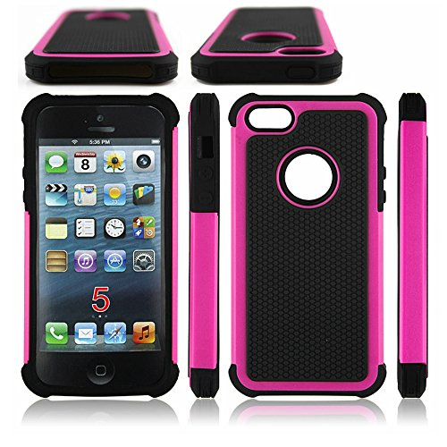 AGRIGLE Shock- Absorption / High Impact Resistant Hybrid Dual Layer Armor Defender Full Body Protective Cover Case For iPhone 5/5S/SE (Rose)