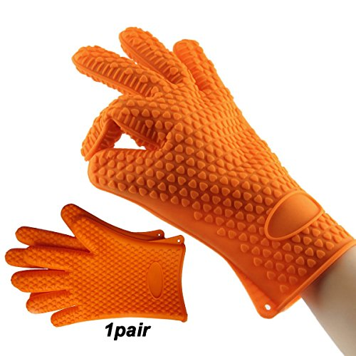 gloves heat resistant 500 degrees,Thickening pit mitt oven mitts orange, grilling gloves for cooking outdoors, toaster, dutch, microwave, Potholder Gloves - Oven Mitt Set of 2 (Dot Pot Mitt)