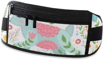 Travel Waist Pack,travel Pocket With Adjustable Belt Rabbit Flowers Scandinavian Style Folk Running Lumbar Pack For Travel Outdoor Sports Walking