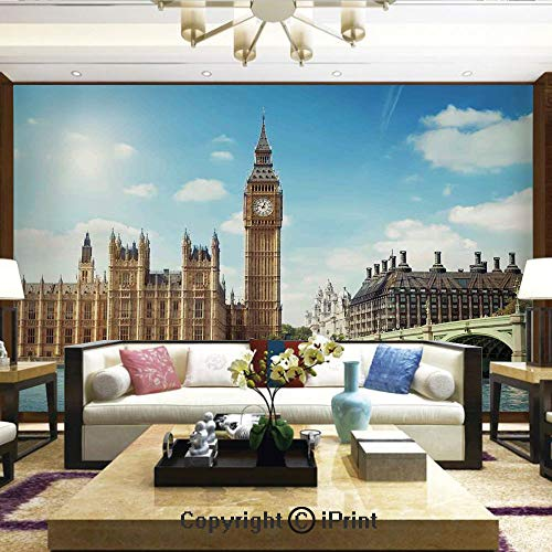 Mural Wall Art Photo Decor Wall Mural for Living Room or Bedroom,Scenery of Big Ben Westminister Brigde Thames River and Houses of Parliament,Home Decor - 100x144 inches