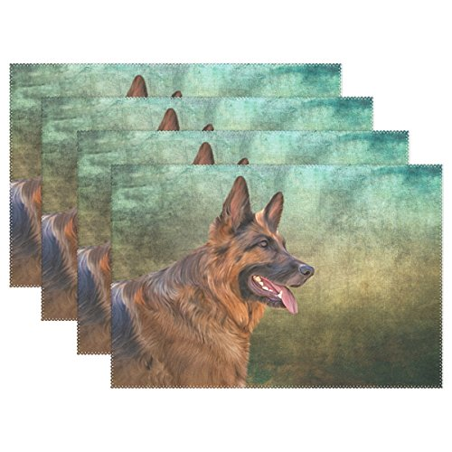 Amazon.com: My Daily German Shepherd Dog Placemats For Dining Table Set Of  4 Heat Resistant Washable Polyester Kitchen Table Mats: Home U0026 Kitchen